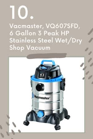 Vacmaster, VQ607SFD, 6 Gallon 3 Peak HP Stainless Steel Wet and Dry Shop Vacuum